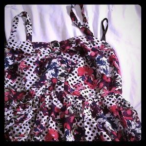 Torrid,Flower-polka dot dress has removable straps